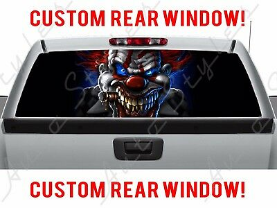 Rear Window Glowing Clown Haunted Pickup Halloween Evil Scary Truck Perforated (Halloween Cartoons Political)