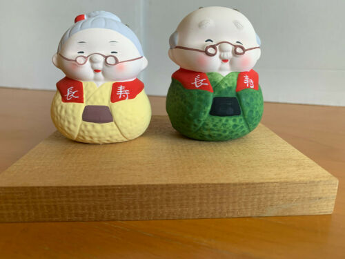 Pair of Vintage Japanese GrandParents Hakata Doll Ceramic Clay Figurines w/ Bell