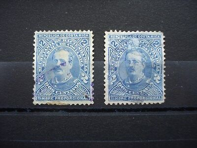 2 Used Stamps Costa Rica Timbre Propocional