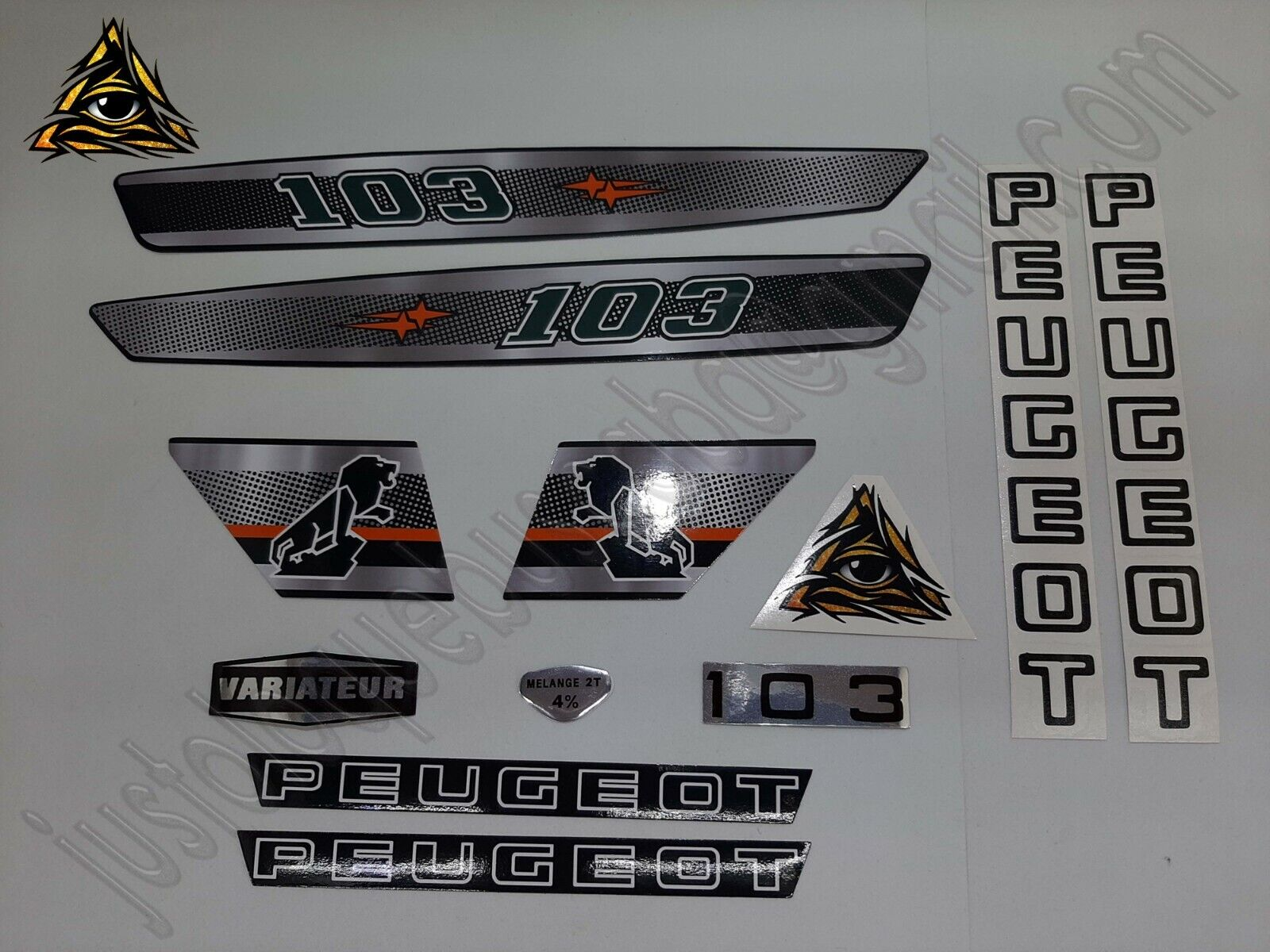 Autocollant stickers Peugeot 103 MVL Metallic Effect Gris