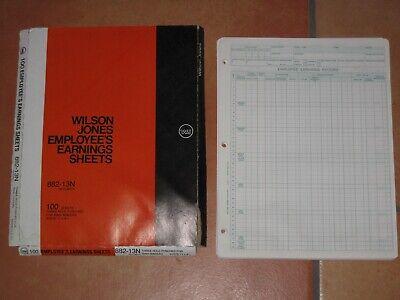 Vintage Wilson Jones Accounting Employees Earnings Sheets 882-13n