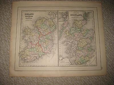 FINE ANTIQUE 1887 IRELAND SCOTLAND MITCHELL HANDCOLORED MAP RAILROAD SUPERB NR