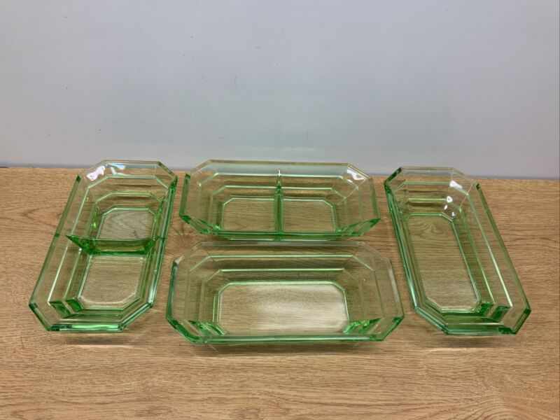 Vintage INDIANA GLASS depression GREEN URANIUM TEA ROOM Set Lot 4 Tray