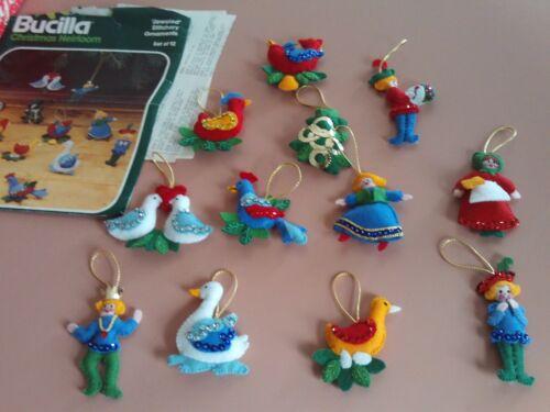Completed Set of 12 Vintage Bucilla Jeweled Felt 12 Days of Christmas Ornaments