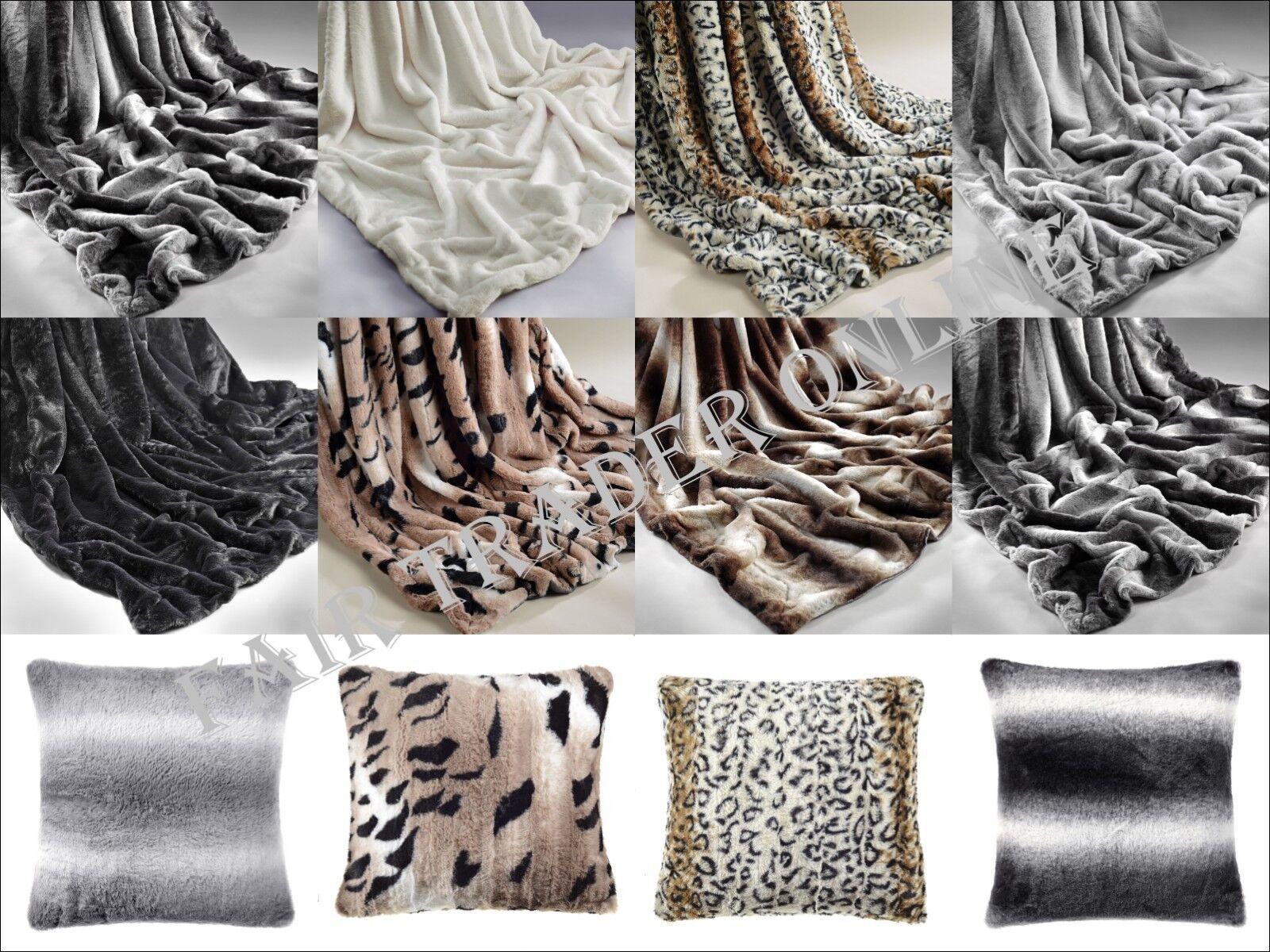 Cushion Covers Rabbit Faux Fur Throw Blanket Sofa Bed Super Soft Plush Warm