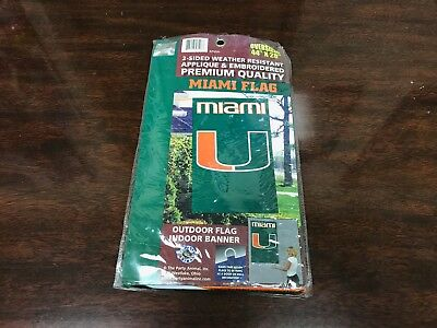 College 2 Sided Banner Flags - NCAA Miami Hurricanes College Team Logo 2-Sided XL Premium Banner Flag