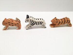 NEW Wooden Safari Animal 3pc Set Seasonal Table Carved Wood Waldorf Toy