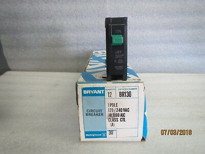 Bryant Circuit Breakers Single Pole 30 Amp-120240v Ac-new Lot Of 12