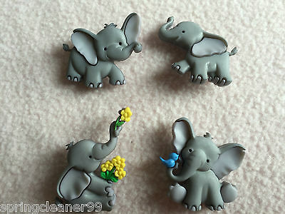 DRESS IT UP BUTTONS ~ TINY TRUNKS ~ 4 LOVEABLE BABY ELEPHANTS ~ ZOO ~ SAFARI ()