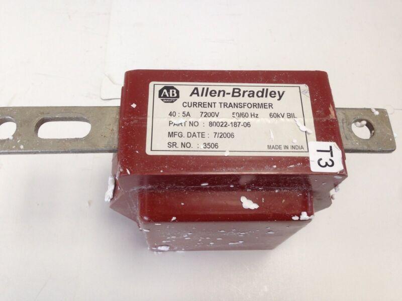 NEW ALLEN BRADLEY 80022-187-06 CURRENT TRANSFORMER 40: 5A 7200V 60KV  DF