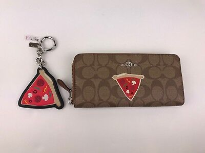 COACH NYC PIZZA SLIM ACCORDION ZIP WALLET IN SIGNATURE F57820 + Key Chain