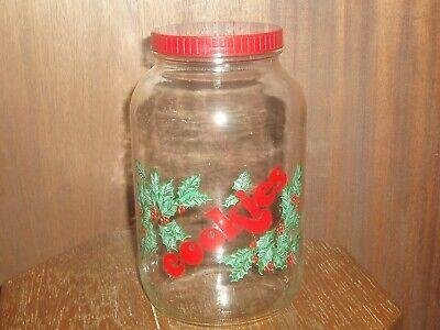 VINTAGE GLASS CHRISTMAS COOKIE JAR