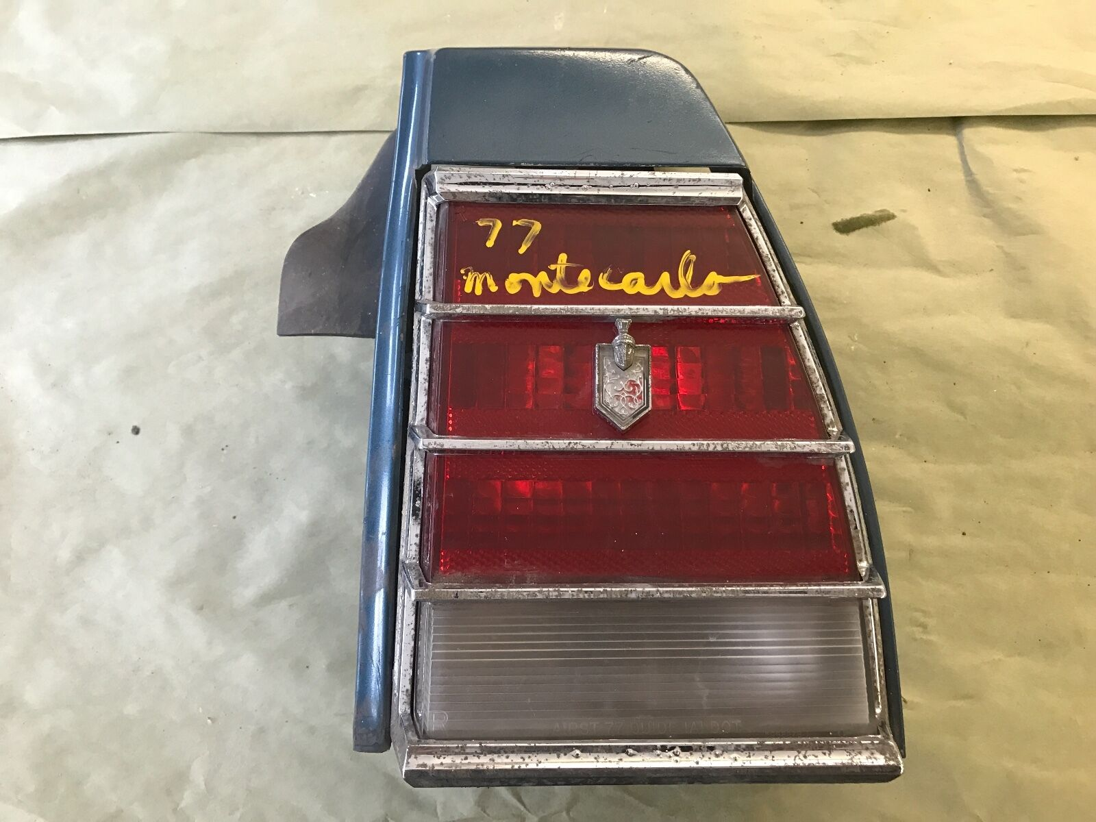 1977 chevrolet monte carlo RH tail light assembly with 1/4 panel extension blue