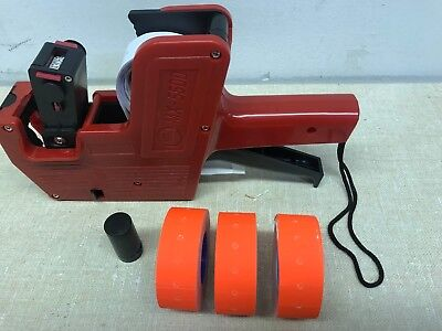 Mx-5500 8 Digits Price Tag Gun Labeler 3 Red Color Rolls 3x1200 Labels 1 Inker