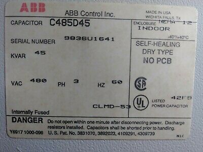 Abb C485d45 Power Factor Correction Capacitor 480 Volt 3 Ph 40 Kvar Pre-owned