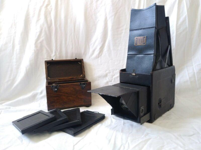 GRAFLEX SERIES C SLR CAMERA STEINHEIL-MUNCHEN LENS WITH ADAPTER AND BOX