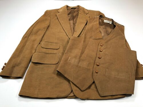 Levi's Panatela 38R Men's Brown 2 Piece Sport Coat Vest Vintage Corduroy