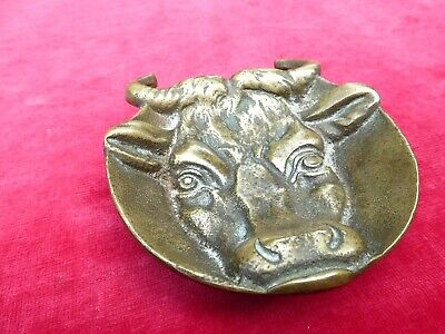 Vintage Bronze Bull's Head Dish 4 3/4