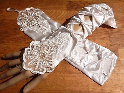Sequin Gloves (WHITE COSTUME EVENING GLOVES embroidered lace sequined beaded cutout wedding)