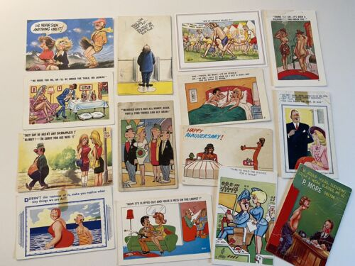 50+ vintage comedy postcards seaside humour collectible job lot
