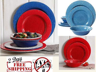Heavyweight Melamine Dinnerware -  Dinnerware Set Studio Mauna Heavy Weight Melamine 12 Pieces Red & Blue Rustic
