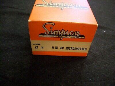 Vintage Simpson Model 27 H 0-15 Dc Microamperes Panel Meter