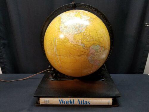 "George F. Cram 12"" Lighted Terrestrial Globe No.53 Bronze Holder & Atlas"