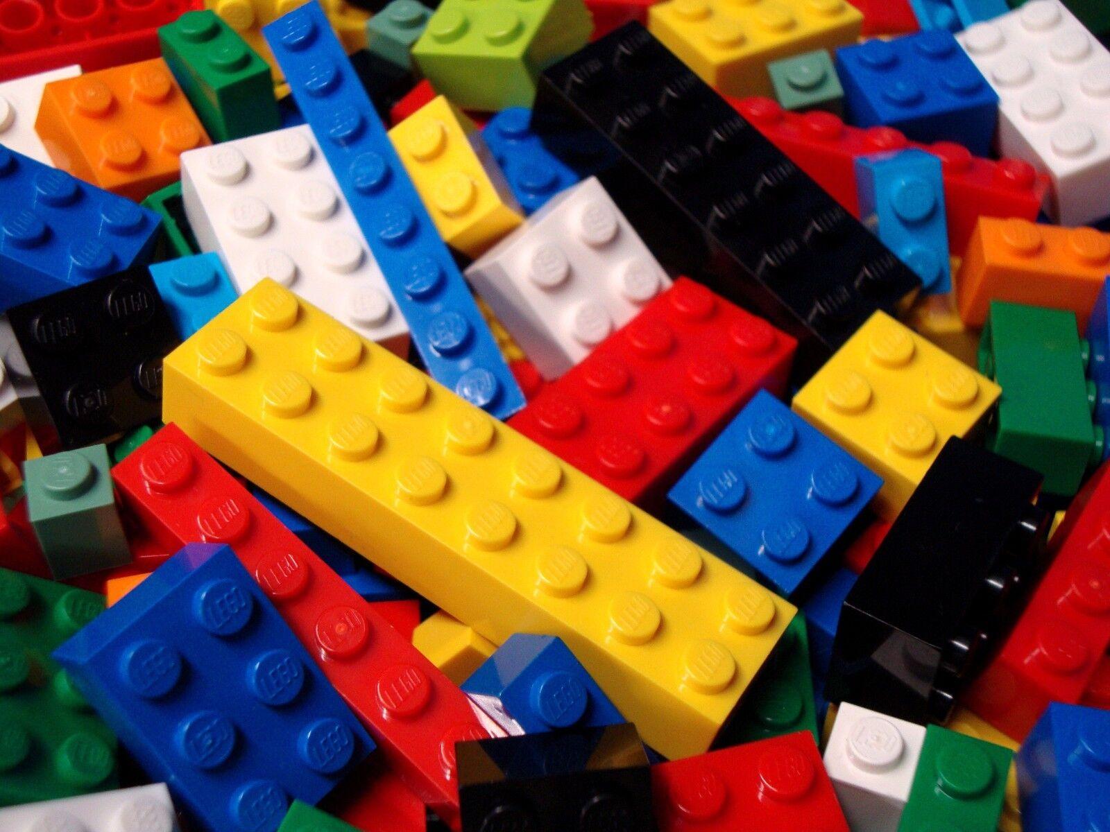 All Lego Bricks Lot 100 Bulk Pieces ONLY BRICKS BLOCKS 1x2 2x2 2x4 2x3...Stud Sz