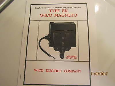 Color 1929 Wico Ek Magneto Service Parts Manual Hit Miss Engines