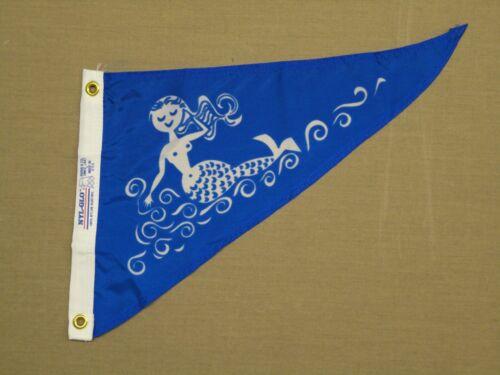 "Mermaid Water Blue Boating Indoor Outdoor Nylon Pennant Grommets 10"" X 15"""