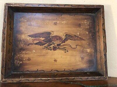 Vintage/Antique LARGE Wood Wooden Folk Art Platter Tray Hand Painted Eagle