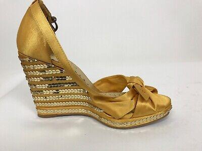 BCBGirls Wedge Yellow Sandals 7 1/2 w/ 4