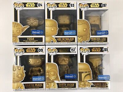 Lot of 6 Funko Pop Star Wars Figures Gold Yoda Jango Luke Leia Darth Vader Maul
