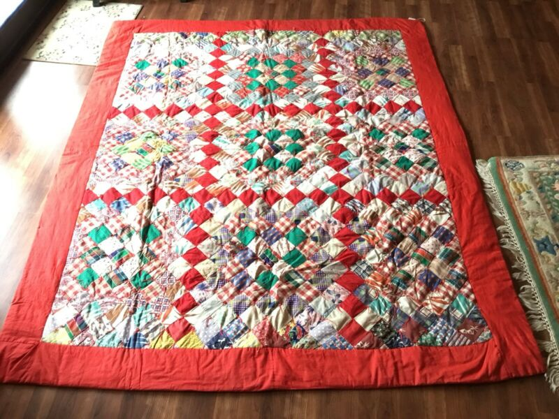 1950S Pieced Squares Heavy Quilt Blanket Handmade