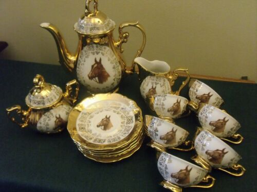 Bavaria Follin Salvoream 17 Pc.Tea Set w Horse portrait & Heavy Gold Signed 1950