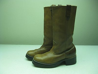 VINTAGE DISTRESSED BROWN PLATFORM CAMPUS BOOTS MADE IN USA 7 MENS 9 WOMENS