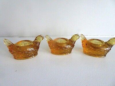 Set of 3 Mosser Art Glass HEN #112 Open Salt Dip Cellar 1980-90's Amber Yellow
