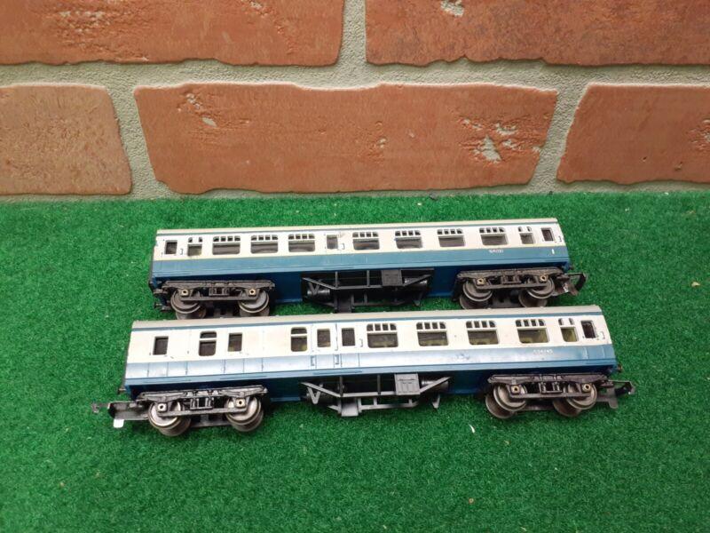 Rare Triang Railways TT Gauge T.87-T.88 Blue Livery Coaches Lot of 2