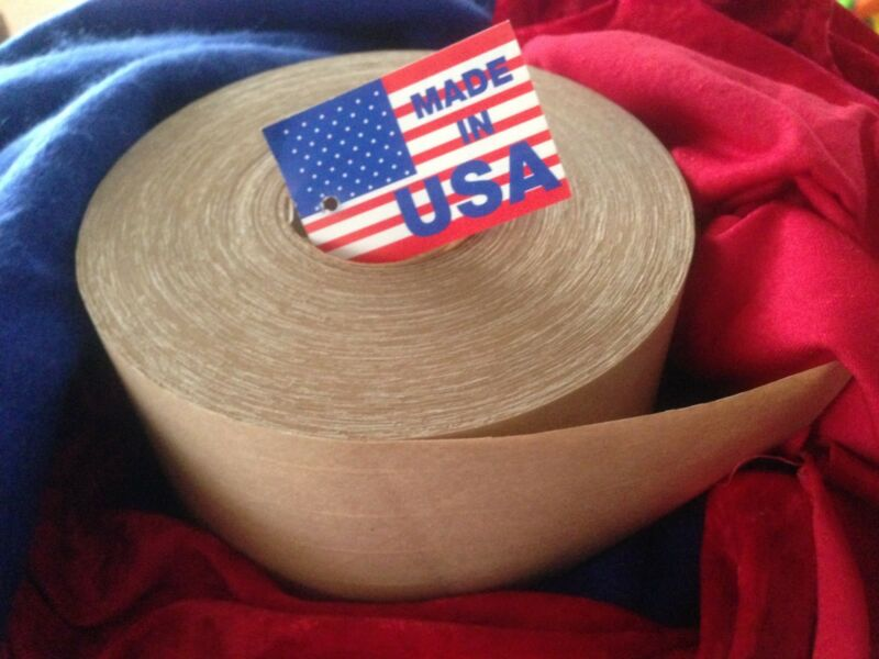 "1 Roll 3"" x 450ft Reinforced Gummed Kraft Paper Tape USA"