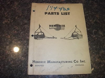 Hendrix Dragline Buckets 1 14yd 1 14 Yard Parts Manual Book Catalog