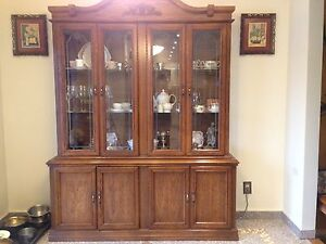 China Cabinet; Hutch and bufet by Acese Brothers, Solid Oak.