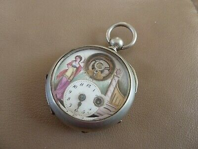 Antique French Handpainted Porcelain Pocket Watch - Keywind