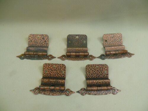 SET OF 5 VINTAGE COPPER PLATED CABINET HINGES