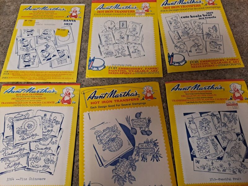 VTG LOT OF 6 PACKS ~ Aunt Marthas Hot Iron Embroidery Transfer Patterns