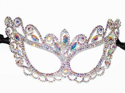 (Silver AB Iridescent Rhinestone Crystal Wedding Mask Mardi Gras Party / 2163)