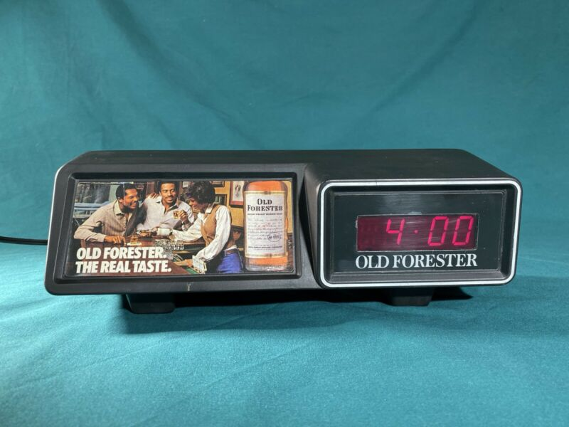 Vintage Old Forester Electric Clock Advertising Whiskey Bourbon Barware RARE