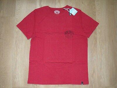 Burgund Grafik (Animal Herren Grafik Logo T-Shirt Burgund Regular Fit XS M Neu mit Etiketten)