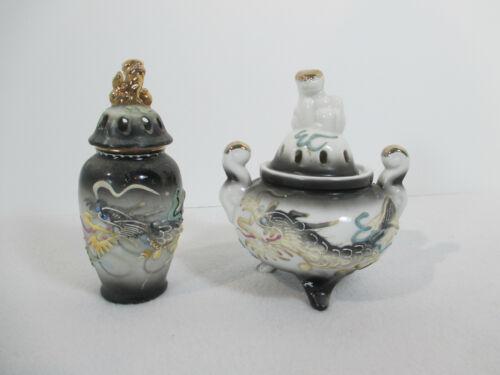 Jar Potpourri Scent Pot Dragonware Japanese Moriage Black Raised Dragon Vtg 2pcs