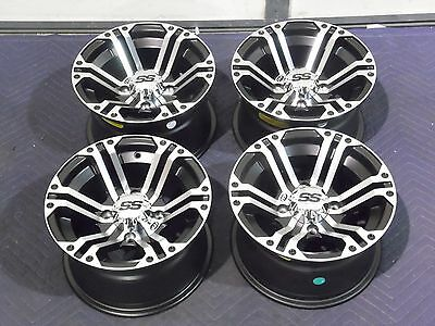 "12"" ITP SS212 MACHINED ATV WHEELS COMPLETE SET 4 LIFETIME WARRANTY IRS1CA"