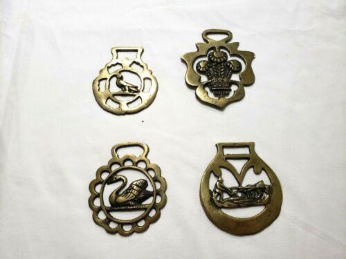 Vintage Brass Horse Medallions,  Lot Of 4